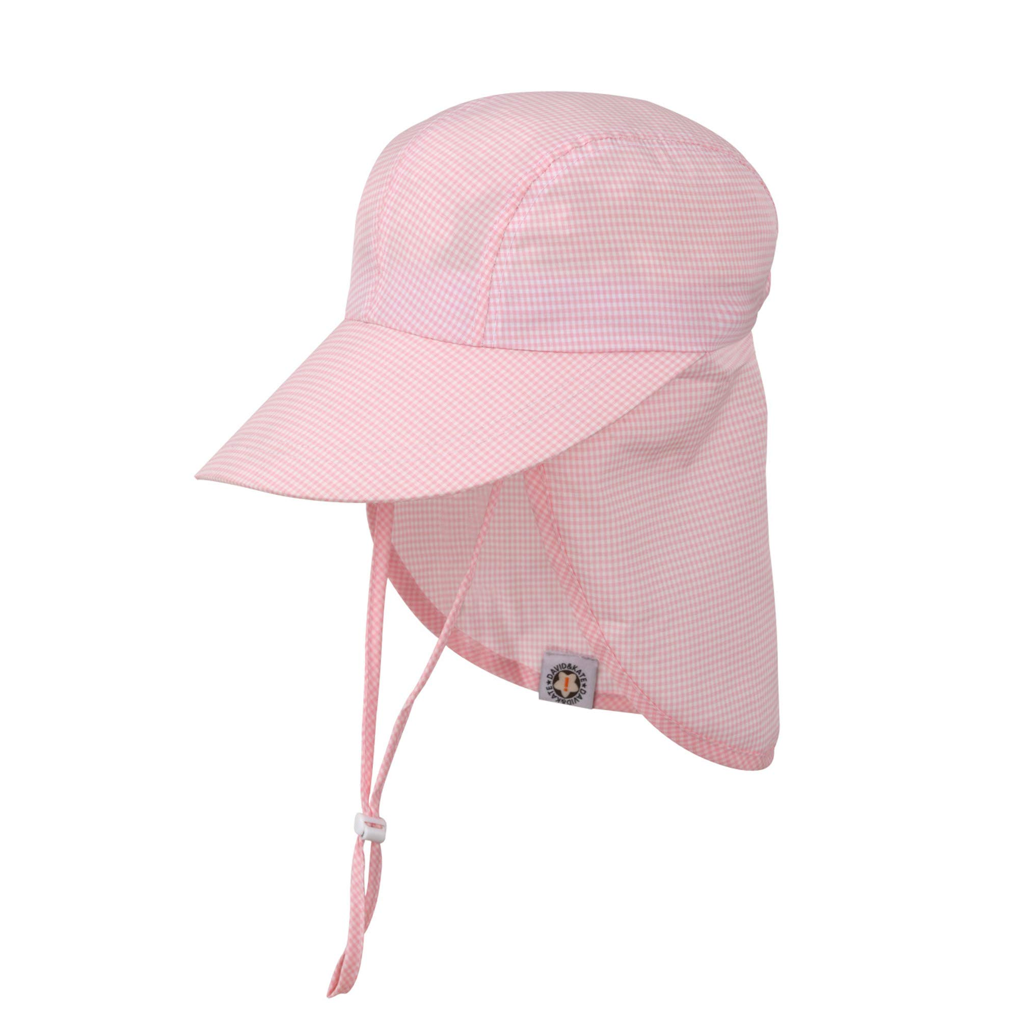 Kids Sun Protection Play Hat, Wide Brim, Waterproof, Easy Washable, Quick Dry, Stain Resistant (Pink Check, Medium)