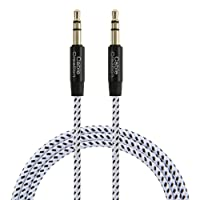 Audio Cable (3FT / 0.9M), CableCreation 3.5mm Auxiliary Stereo AUX Cable, Slim and Soft AUX Cord for Headphones, iPods, iPhones, iPads, Home/Car Stereos & More, Black & White