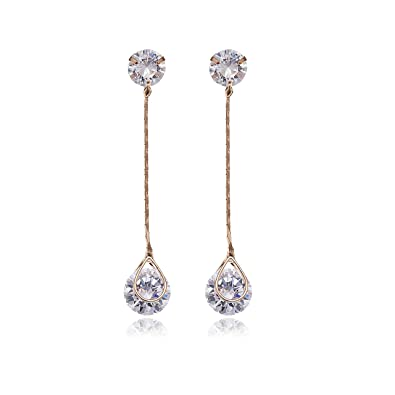 Crystal Long Drop Earrings - Women s Rose Gold Plated Sterling Silver Round  Cubic Zirconia CZ Diamond 4fda340256