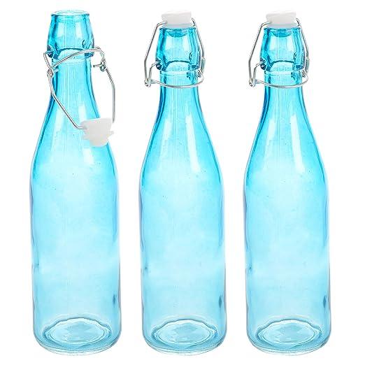 Botellas de cristal azul de 0,5 y 1 litro con tapa abatible para bebidas, agua, aceite, vinagre y vino 3 unidades 0.5 Litre