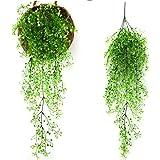 観葉植物 Sorliva 観葉植物 インテリア シミュレーション 籐植物 造花 人工偽 リビング ルームの壁の装飾 ホーム インテリア (ホワイト)