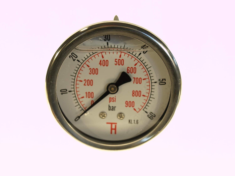 0 /– 16 bar THERMIS Manometer 358G 1//4 Anschluss von hinten 63 mm