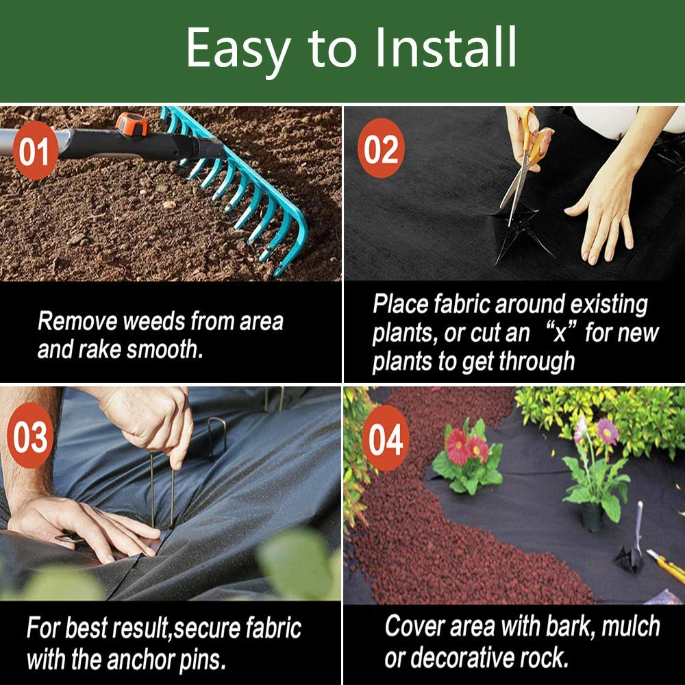 Goasis Lawn Weed Barrier Control Fabric Ground Cover Membrane Garden Landscape Driveway Weed Block Nonwoven Heavy Duty 125gsm Black,3FT x 300FT by Goasis Lawn (Image #5)
