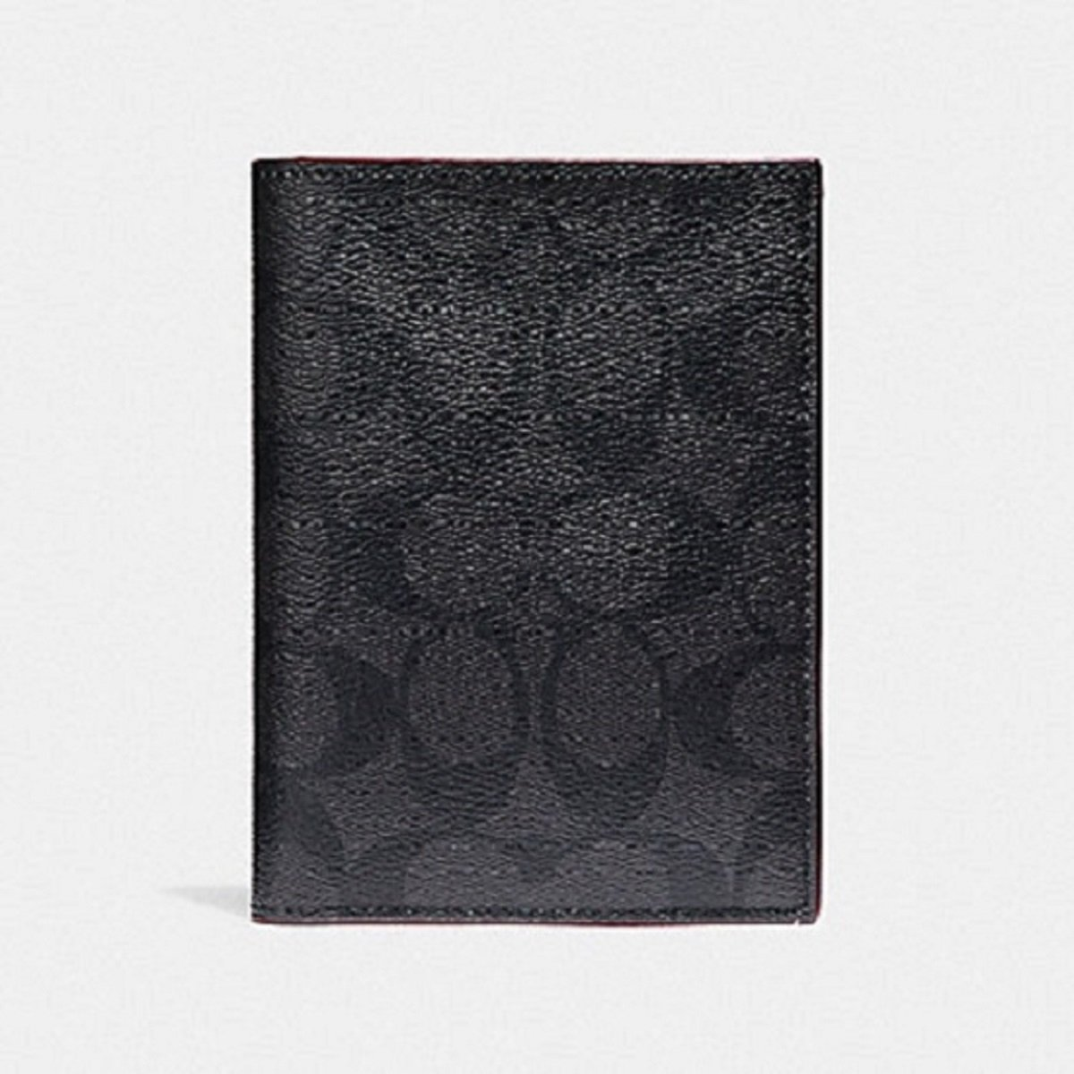 Coach Men's F26074 Passport Case in Signature Charcoal/ Black