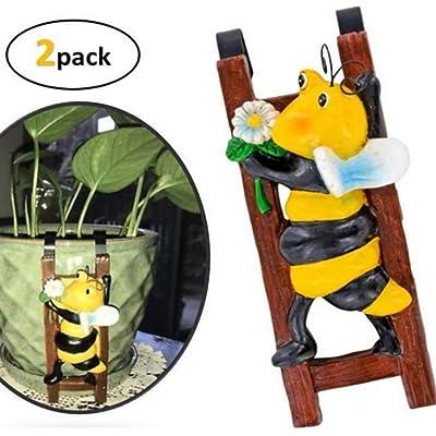 Flower Pot - Hugger Figurine - Bumblebee (2 Pcs) Garden Decor - Get All The Fun Collections of Pot Pal Climbers - Hanging Planter Decorations - Patio Decor - Yard Decor : Garden & Outdoor