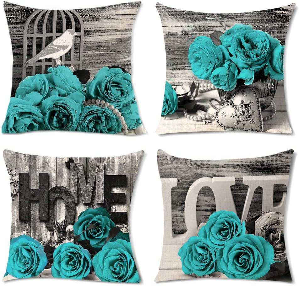 set of 4 teal throw pillow covers turquoise black and white rose blooming flowers romantic love couch cushion case square pillowcases women modern