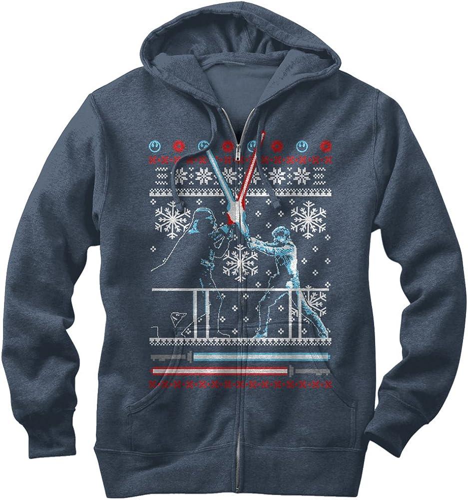 Star Wars Mens Ugly Christmas Sweater Duel Zip Up Hoodie