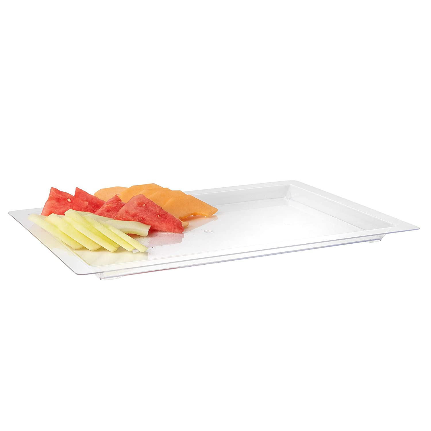 Clear Buffets Dinner 17 x 12 inches Excellent for Weddings Disposable Rectangle Plastic Serving Tray and Parties 4 Count