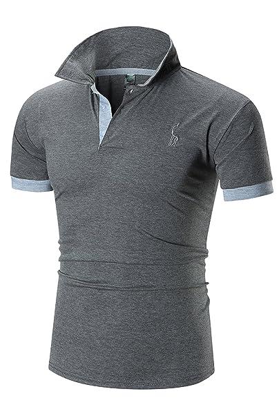 YCHENG Polo Para Hombre Manga Corta Moda Lujo Jirafa Bordado Contraste  Collar Golf Camiseta (M b5a2f2876b374
