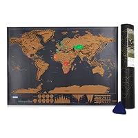 Scratch il Mondo,Samione Mappa da Grattare Mappa Multicolore da grattare,Gratta via i posti in cui viaggi 42.3X30 cm