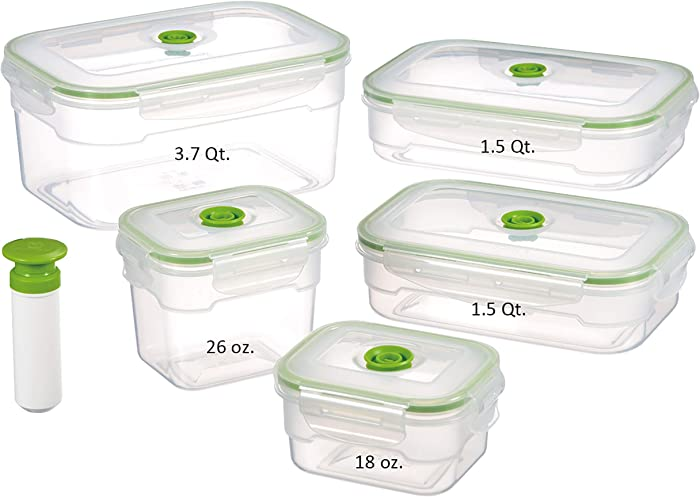 Lasting Freshness Vacuum Seal Food Storage Containers - Handheld Vacuum Food System - Quick Marinator - Rectangle - 11Pc - Green Color