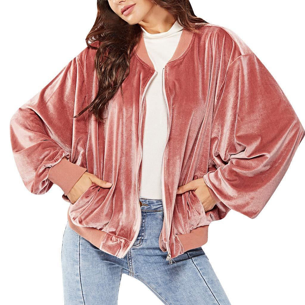 AmazingDays Fashion Women Pure color Zipper Long Sleeve Sportswear Lapel Cardigan Suit Coat by AmazingDays