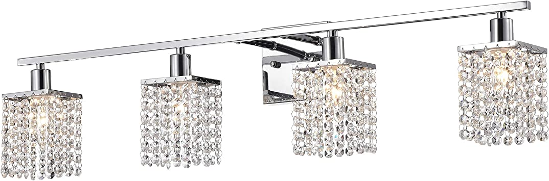 Bestier Modern Chrome Crystal Glass 3-Light Bath Bathroom Vanity Wall Mounted Light Wall Sconce 3 G9 LED Bulbs Required Length 23.6 inch Width 5.9 inch Height 5.5 inch
