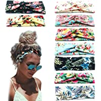 9 Pack Women's Boho Headbands for Women Girls Wide Bohemian Knotted Yoga Headband Head Wrap Hair Band Elastic Hair Band Accessories for girl A