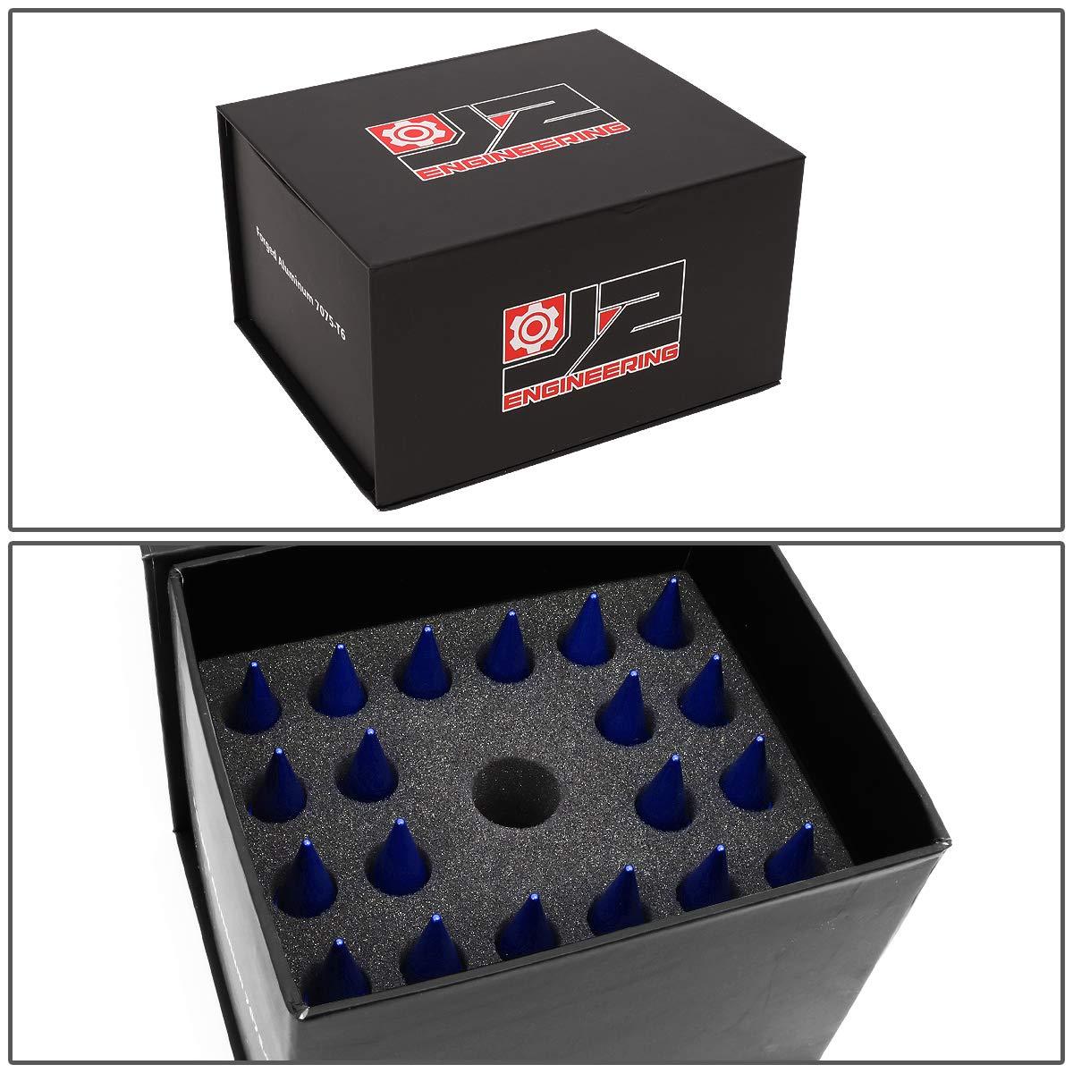 60mm Open End Lug Nut w//Socket Adapter J2 Engineering LN-T7-003-15-RD Red 7075 Aluminum M12X1.5 20Pcs L