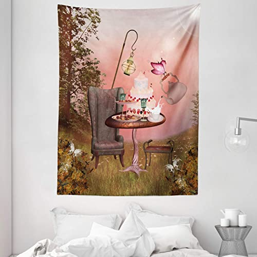 Ambesonne Surrealistic Tapestry, Birthday Alice in Wonderland with Cake Butterfly in Forest Cartoon Art, Wall Hanging for Bedroom Living Room Dorm, 60 X 80 , Pale Coral