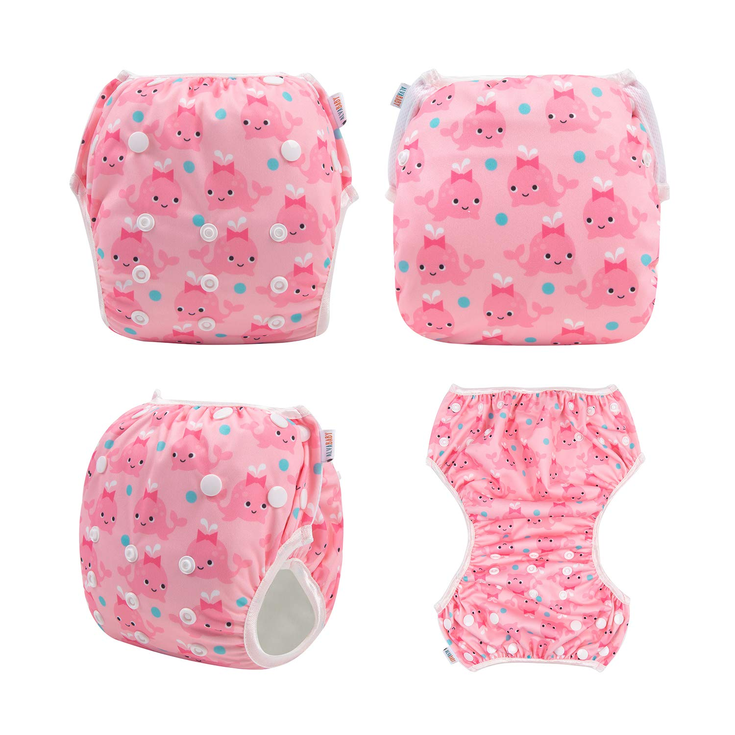 ALVABABY Swim Diapers Reuseable Washable /& Adjustable 2 PCS One Size