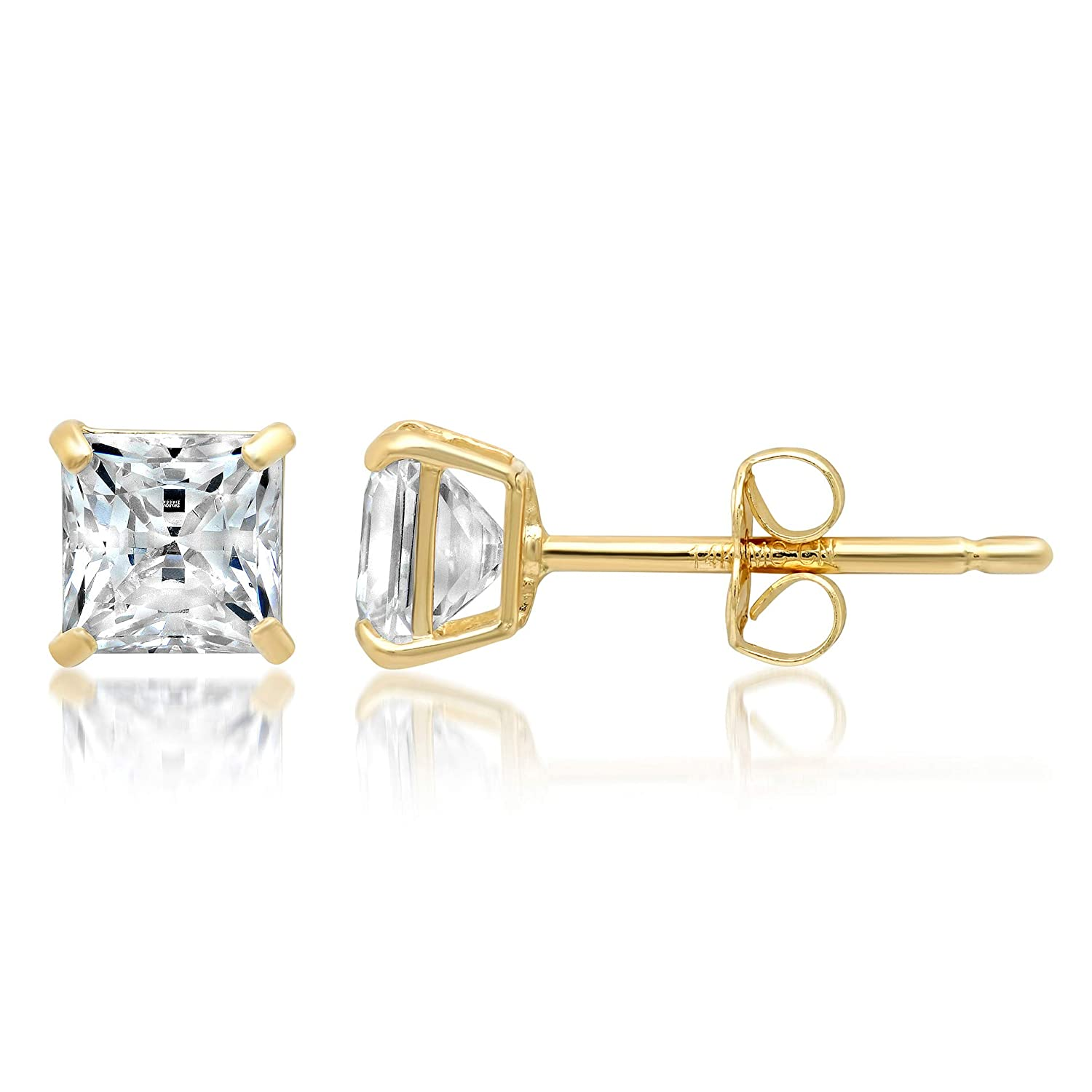 14k Solid Gold PRINCESS Stud Earrings with Genuine Swarovski Zirconia With Gift Box 1.0 to 3.0 CTW