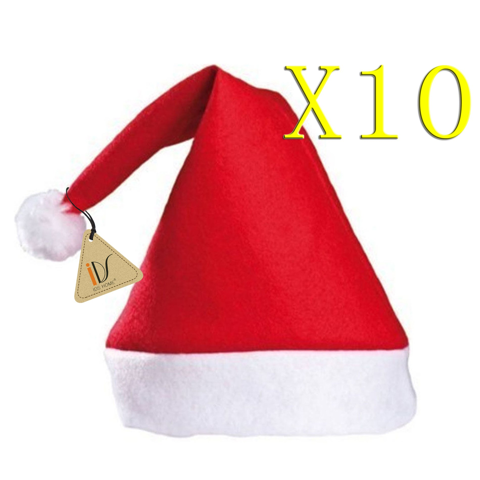 IDS Home Merry Christmas Hat, Bulk Santa Hats, Pack of 10