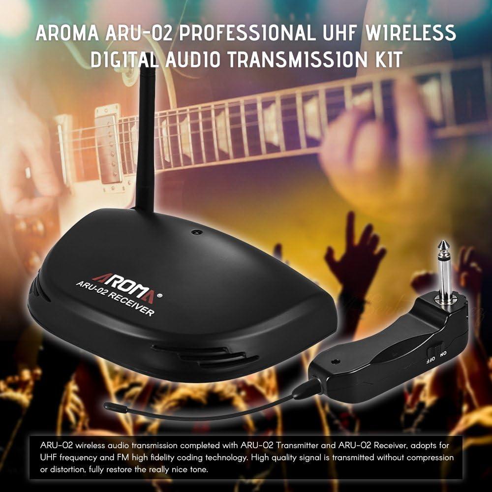 ammoon Aroma ARU-02 UHF Recargable Profesional Audio Digital Inalámbrico Transmisor Sistema Receptor con Cable USB para Guitarra Bajo