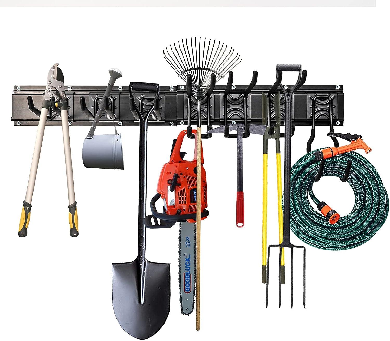Garage Tool Organizer Wall Mount 48 Inch - Ski Wall Rack, Heavy Duty Tool Storage Holder, 3 Rails with 7 Adjustable Hooks, Max Load 450Lbs.