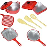 Liberty Imports 10 Piece Pots and Pans Kitchen Cookware Playset for Kids with Cooking Utensils Set