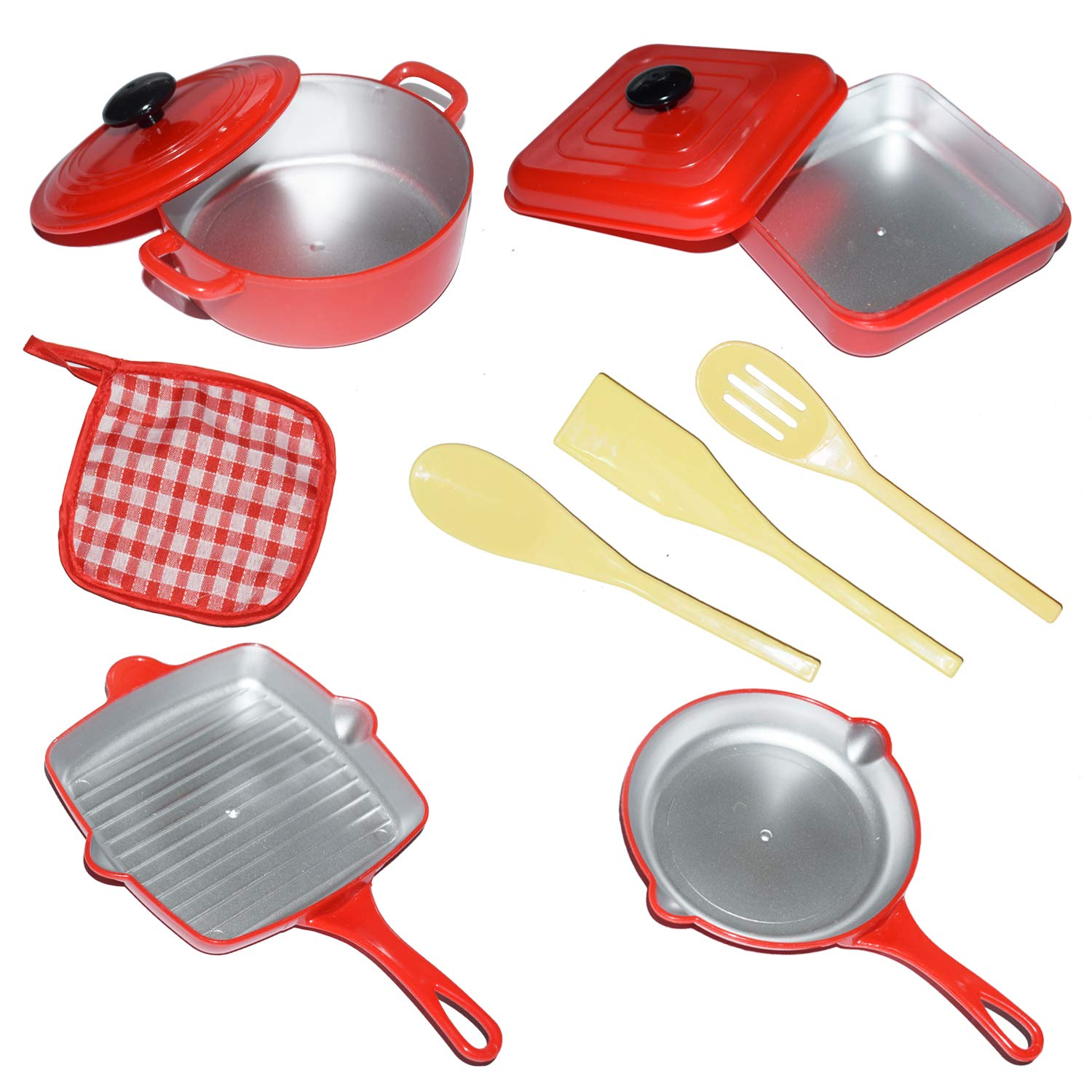 Liberty Imports 10 Piece Pots and Pans Kitchen Cookware Playset for Kids with Cooking Utensils Set by Liberty Imports