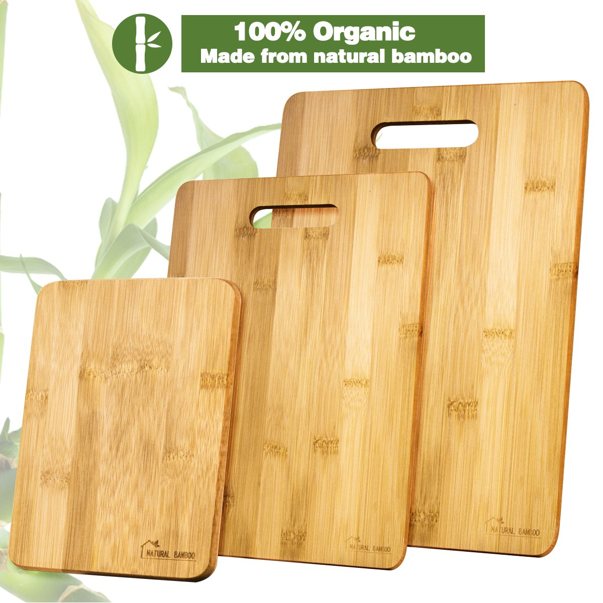 Bamboo Cutting Board [Set of 3], Natural Bamboo 100% Premium Organic; Cutting & Serving Board Set; Used for Cut Food Prep, Meat, Vegetables, Bread, Crackers & Cheese ([Set of 3]) by Natural Bamboo (Image #2)