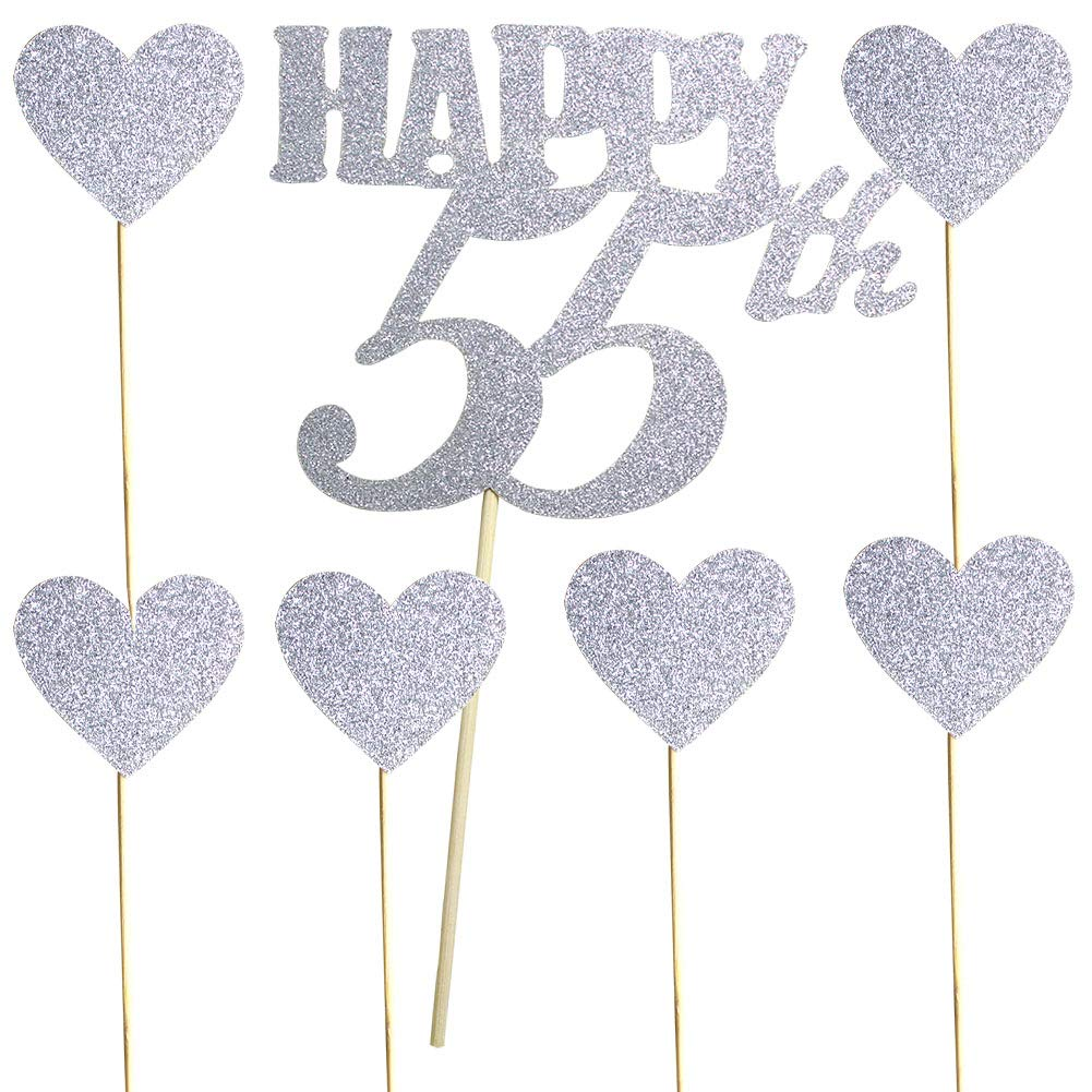 Happy 55th Silver Glitter Cake Topper And Love Heart Cupcake Toppers For Birthday Wedding Anniversary Party Decorations