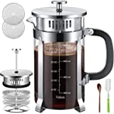 Veken French Press Coffee Tea Maker (34 oz), 304 Stainless Steel Coffee Press with 4 Level Filtration System, Thickened…