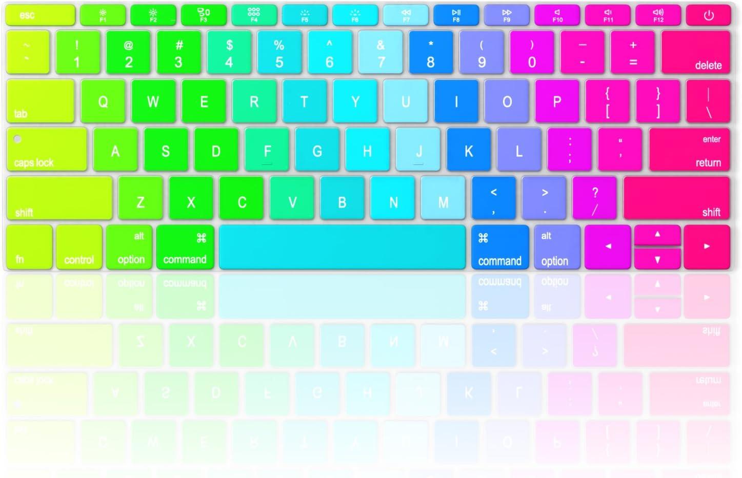 Rainbow No TouchBar Release 2016 /& MacBook 12 A1534 Newest Silicone Skin Rainbow Keyboard Cover for MacBook Pro 13 inch A1708 Kuzy