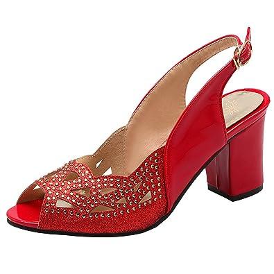 new styles 5fa90 8c922 Artfaerie Damen High Heels Slingback Peeptoes Sandalen mit Glitzer und  Schnalle Dicker Absatz Riemchenpumps Brautschuhe - sommerprogramme.de