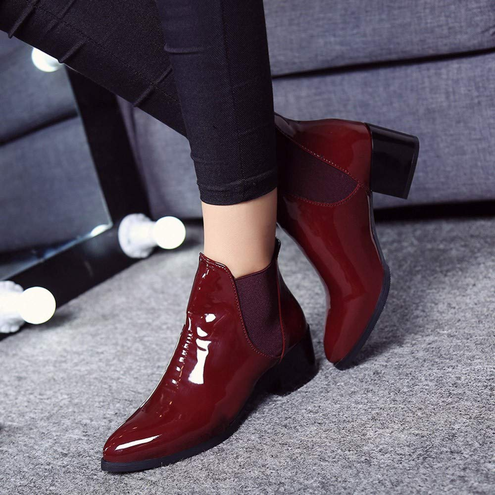 Amazon.com: Womens Leather Pointed Low Heel, Elasticated Patent Leather Boots Solid Color Booties Causel Shoes: Clothing