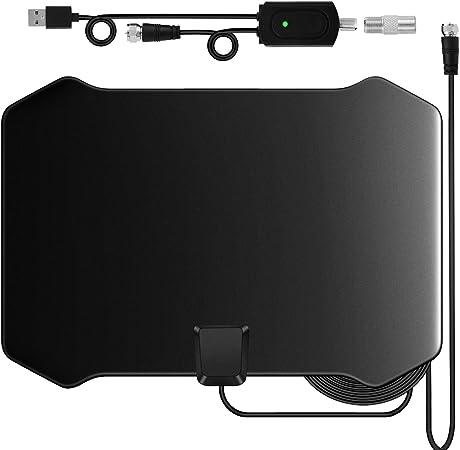 Antena de TV, Antena Interior HDTV DVB-T DVB-T2 TDT con Portatil Amplificador, 120 Millas Gama de Recepción, Obtenga Muchos Canales de TV Gratis, Fácil de Usar y Instalar: Amazon.es: Electrónica