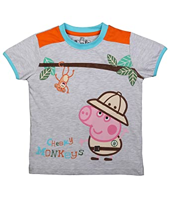 84983cfa Peppa Pig Boy's Cotton Cheeky Monkey T-Shirt (Light Grey ; 2-3 Years ...