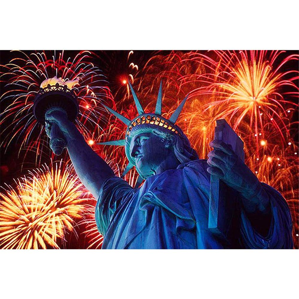 Diy Paint-By-Number Kit For Adults - Includes Brushes, Paints And Numbered Canvas - [Wood Framed] - 16'' X 20'' - Great For Kids And Adults -Fireworks Statue Of Liberty