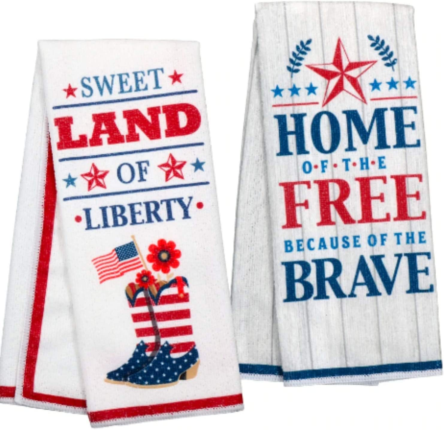 Patriotic Decor - Kitchen Towel Set - Show Your Patriotism with These Beautiful Kitchen Towels - Two Red White and Blue Dish Towels - Americana Home Decoration