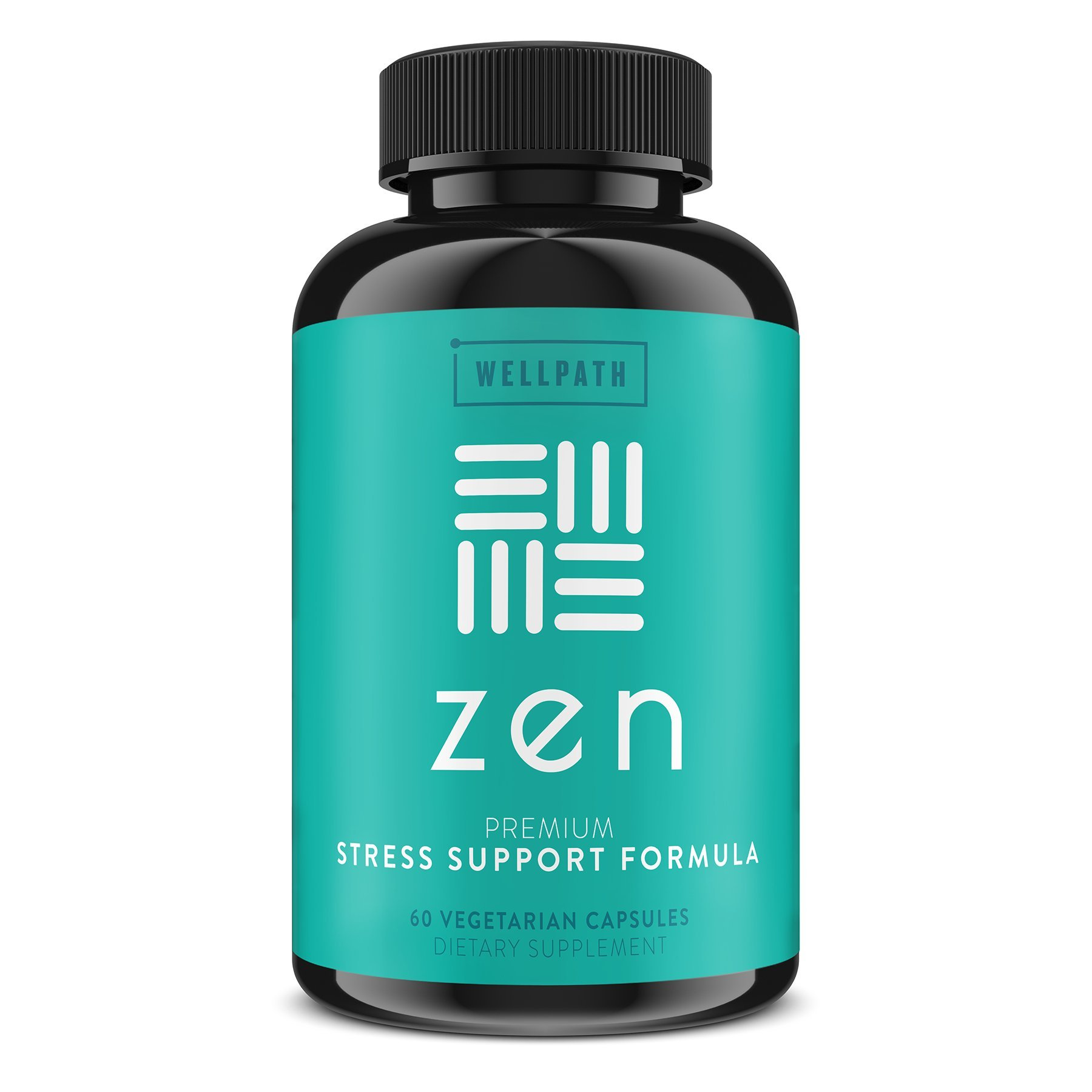 Zen Anxiety and Stress Relief Supplement - Natural Herbal Formula Supporting Calm, Positive Mood with Ashwagandha, L-Theanine, Rhodiola Rosea - 60 Vegetarian Capsules by WellPath