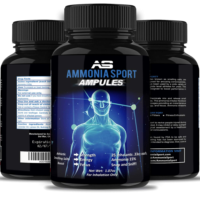 AmmoniaSport Sales olorosas atléticas - Ampollas (20) - Inhalador de  amoniaco -  Inhalantes de sal   amoniaco que huelen   Amazon.es  Deportes y  aire libre 0cb9bd0a3635e