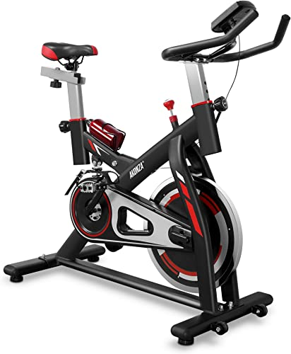 AKONZA Indoor Stationary Exercise Bicycle with Shock Absorption Trainer LED Time Speed Distance Water Bottle, Black Red White