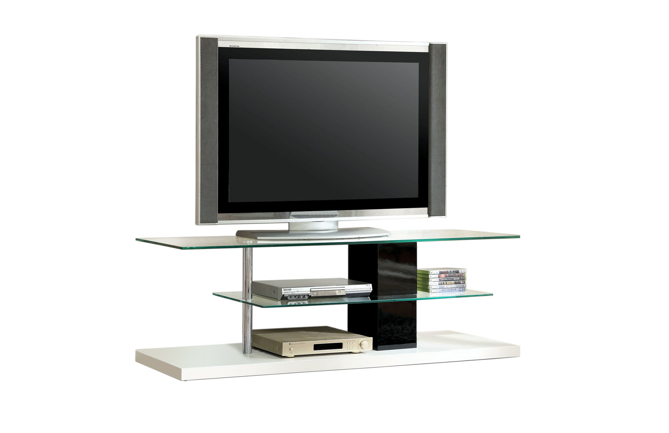 Furniture of America Havana Contemporary TV Console/Stand, Glossy, 63-Inch, Black and White