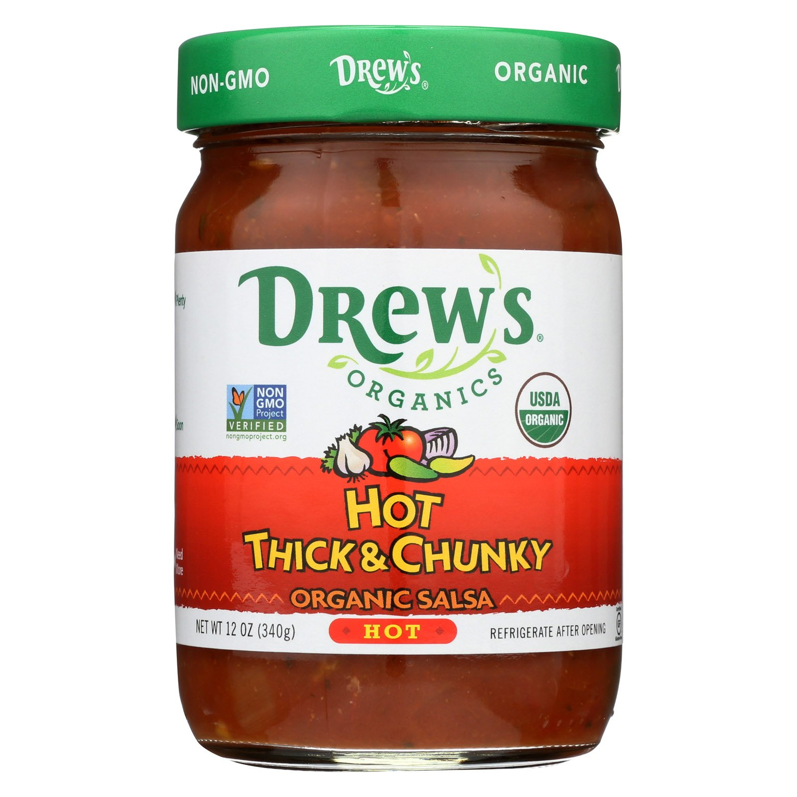 Drew's Organics Hot Thick and Chunky Salsa - 12 Oz. - Case of 6 by Drew's Organics