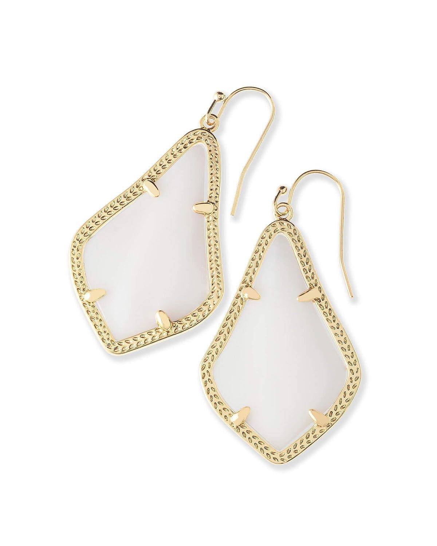 Kendra Scott Signature Alex Gold Drop Earrings in White Pearl