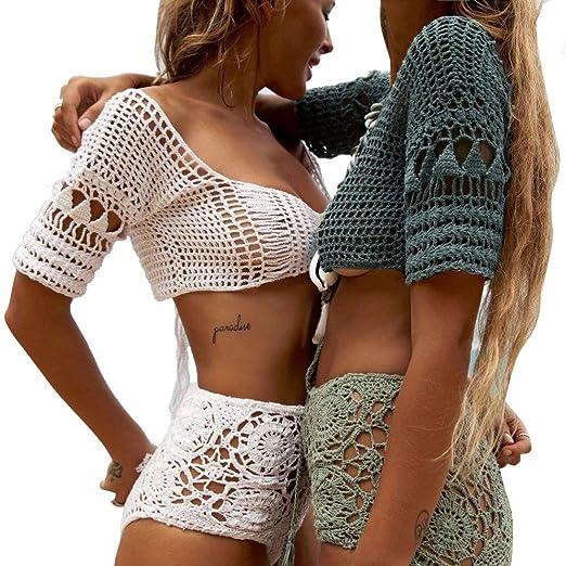 56aba923a1dd9 Amazon.com  one day Women Knit Mesh Crochet Hollow Bikini Cover Up Bra Top  Swimsuit Bathing Swimwear Smock  Clothing