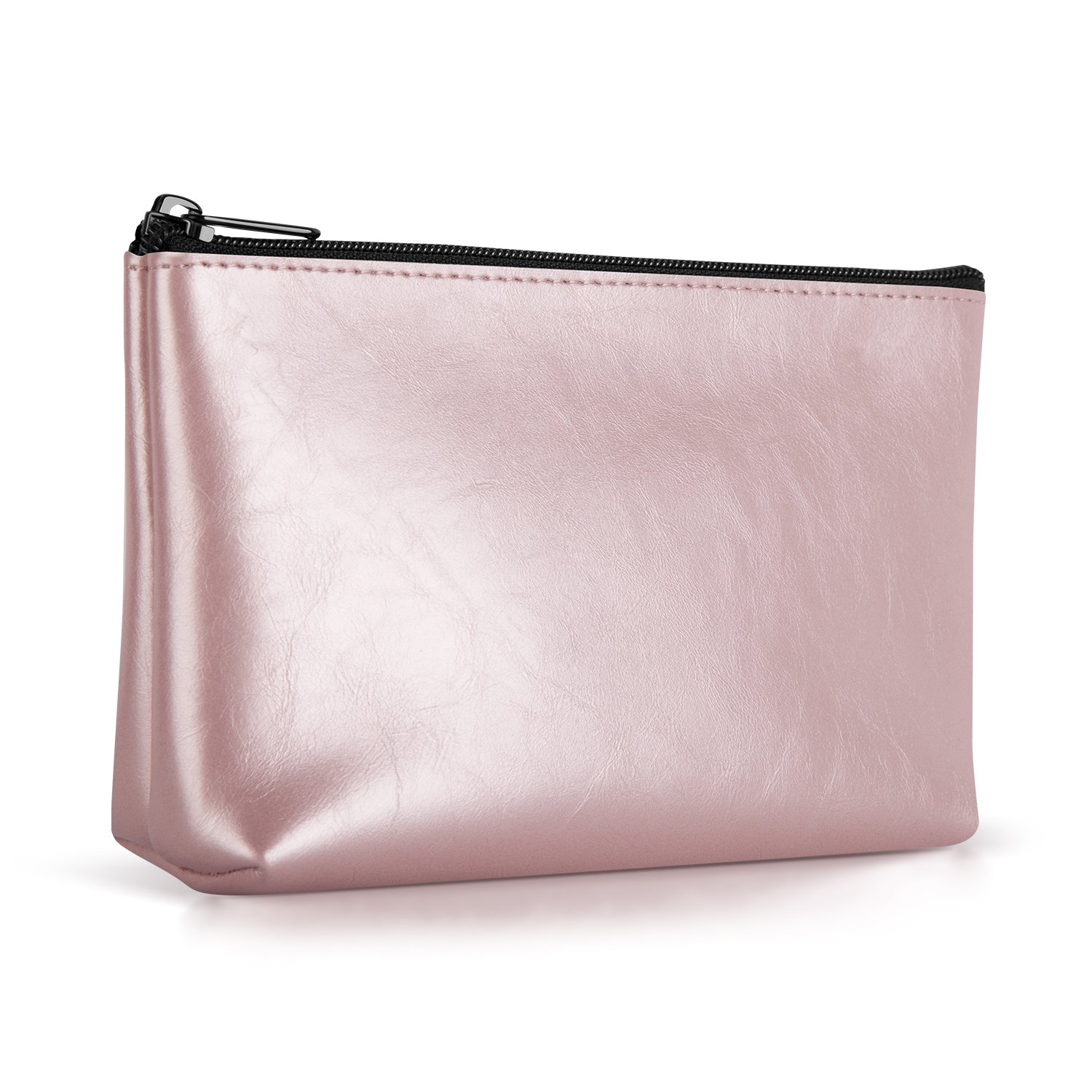 Ayotu PU Leather Lightweight Waterproof Portable Storage Pouch Bag Case Accessories Organizer, Electronics Accessory Travel Organize Case, Cable Management Hard Drive Bag - Rose gold