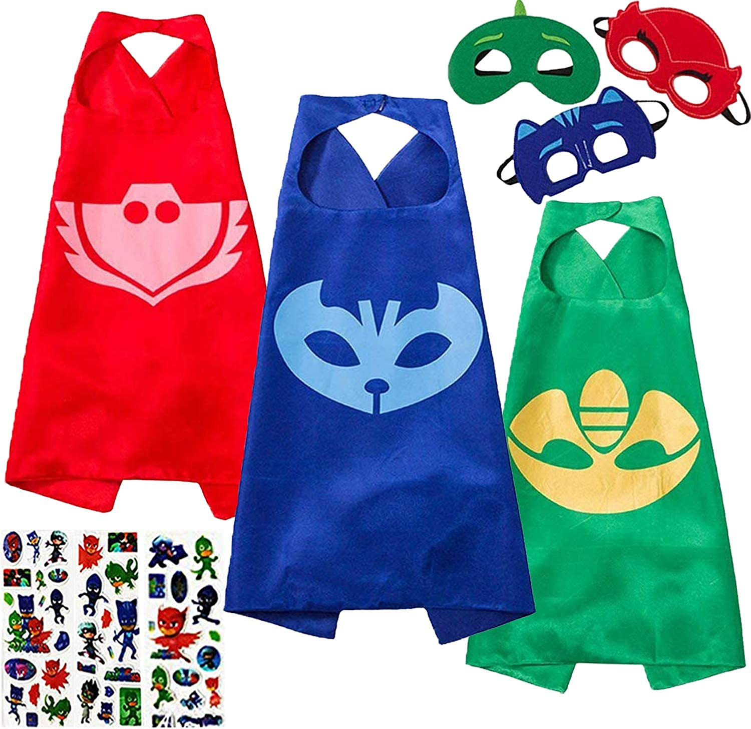 NuGeriAZ Costume Capes and Mask for Kids Double Sided Design Party Capes Compatible Superhero Costumes Best Kids Gifts