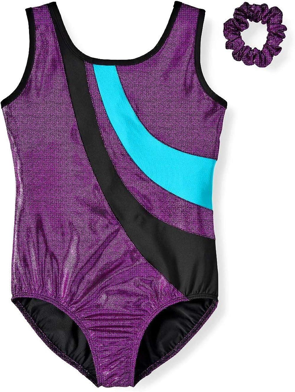 DanskinNow Gymnastics & Dance Elite Foil Leotard with Keyhole Back and Matching Scrunchie (Little Girls & Big Girls)