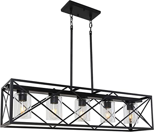 MELUCEE 5-Light Industrial Kitchen Island Lighting with Clear Glass Shade, Farmhouse Black Dining Room Chandelier Cross Framed Box Lantern Pendant Light