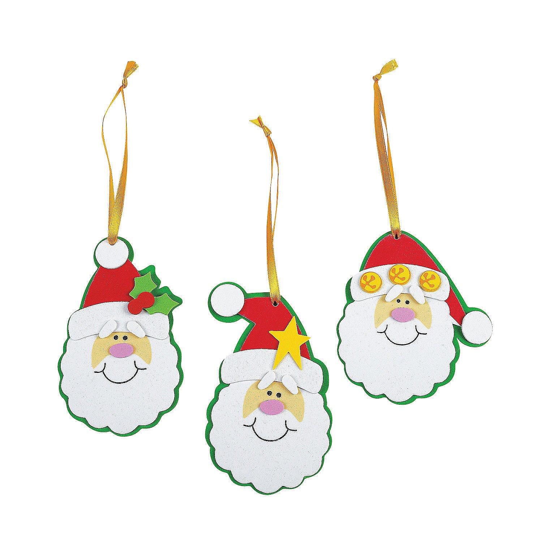 Amazon.com: Foam Simple Santa Ornament Craft Kit/Crafts/Activity ...