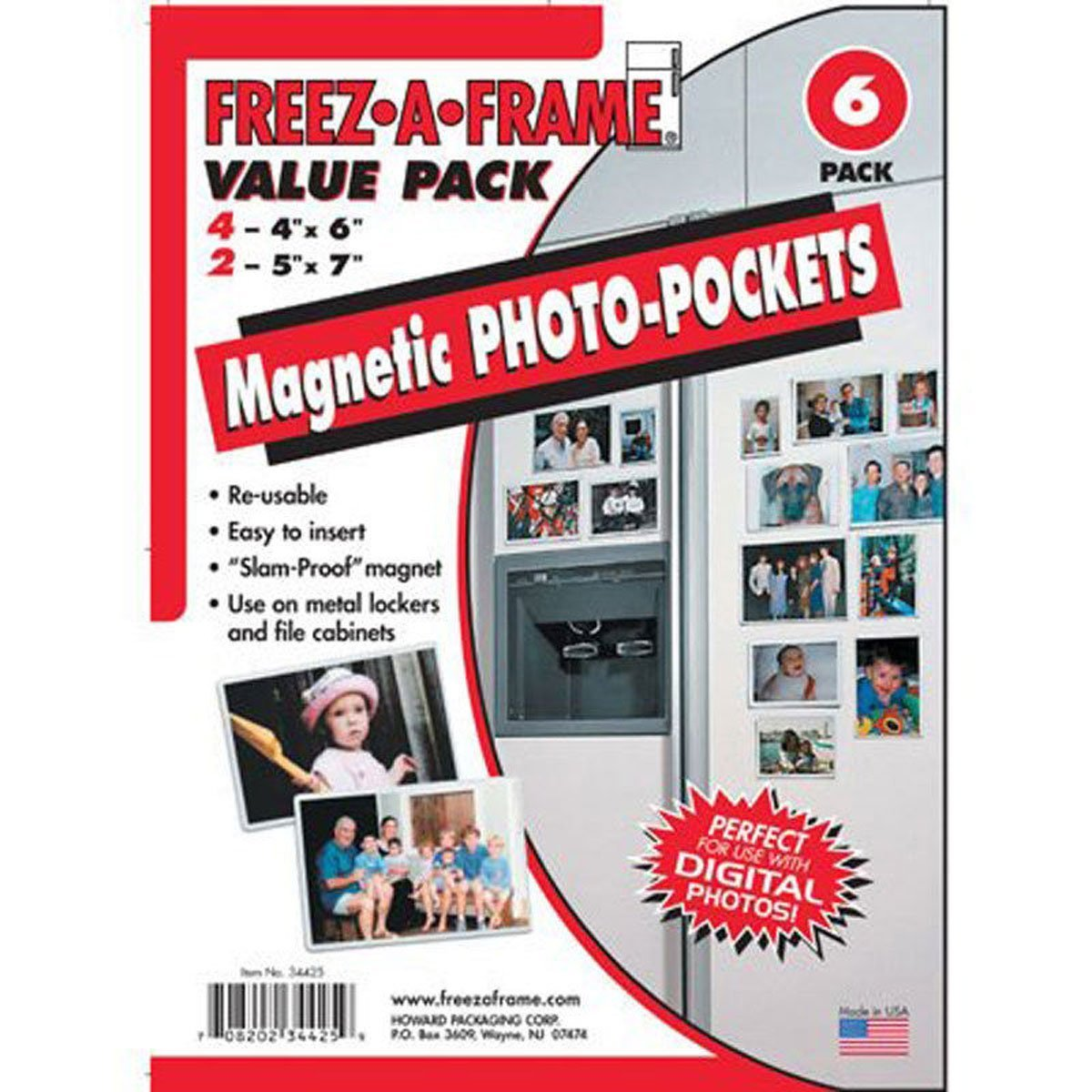 Clear Magnetic Photo Frame Pockets, Freez-A-Frame for Refrigerator, 4 frames (4